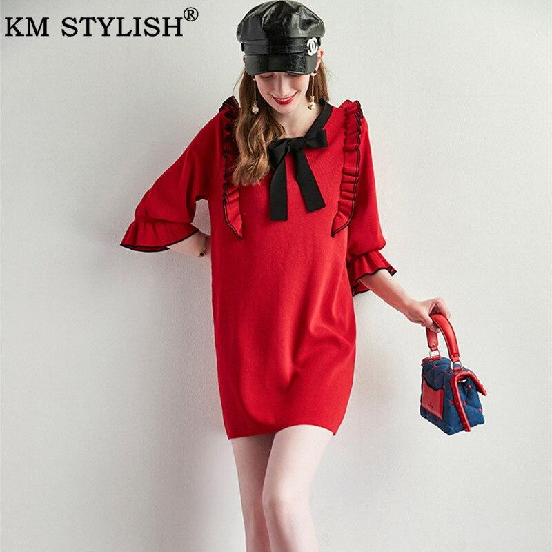Vestidos pour femmes tricot robe 2019 automne nouveau français Vintage vert noir rouge arc en bois oreilles quart Flare manches robe