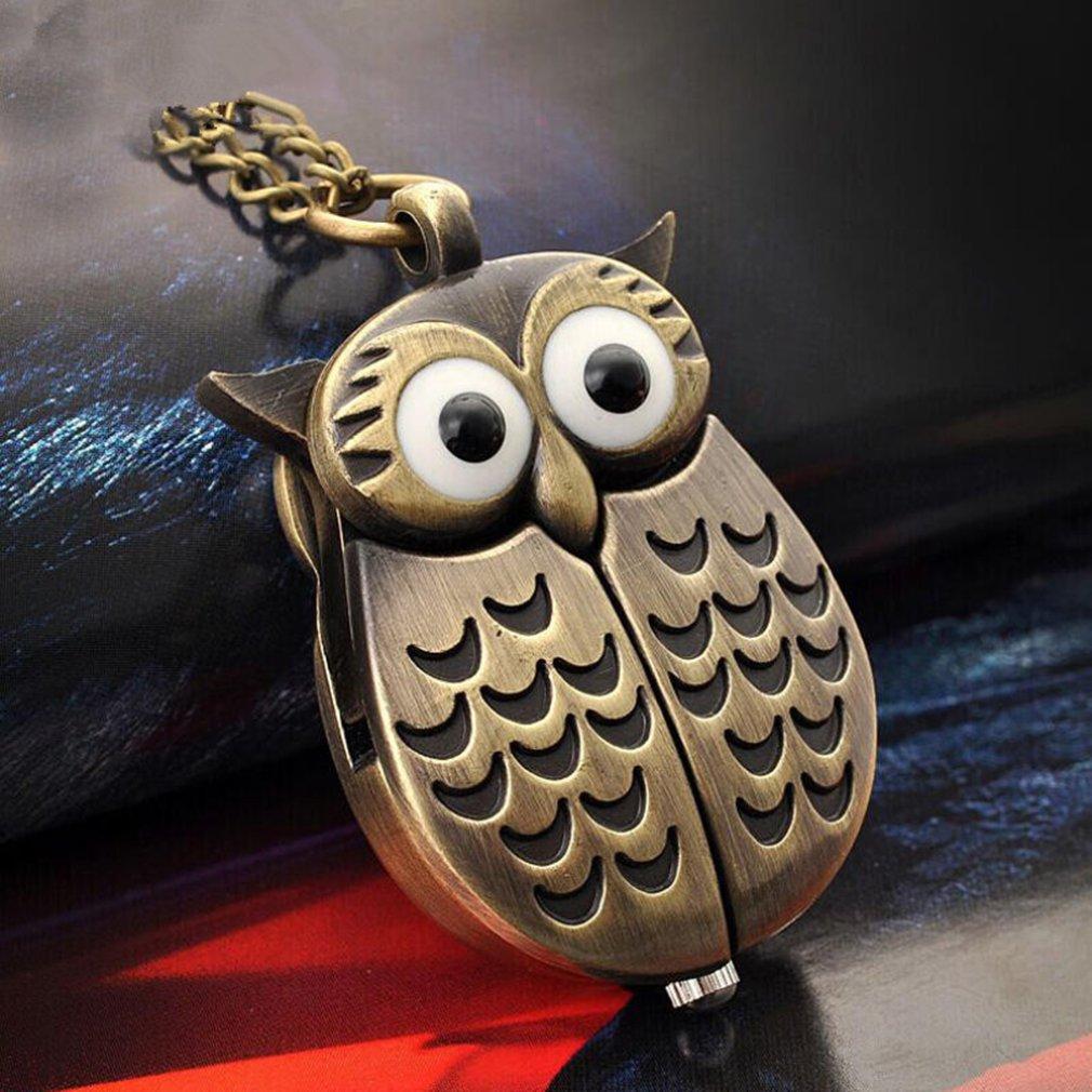 Бронзовые карманные часы с совой переворачиванием креативные карманные часы кварцевые часы креативные подвесные настольные Креативные украшения