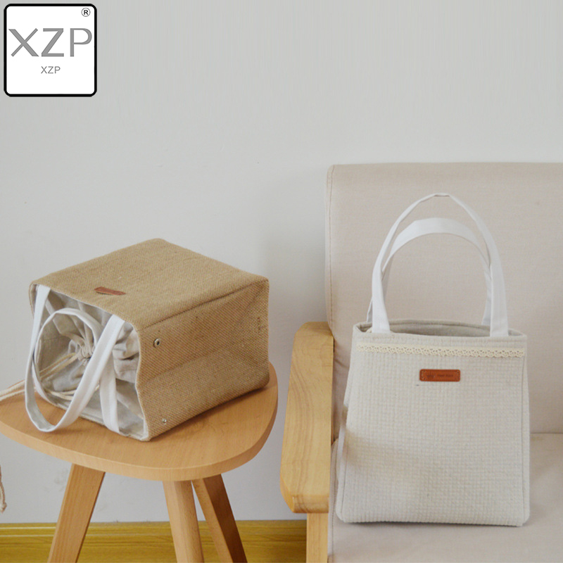 XZP Cotton And Linen Aluminum Foil Thickened Meal Box Student Square Lunch Insulation Bag Portable For Men Or Women