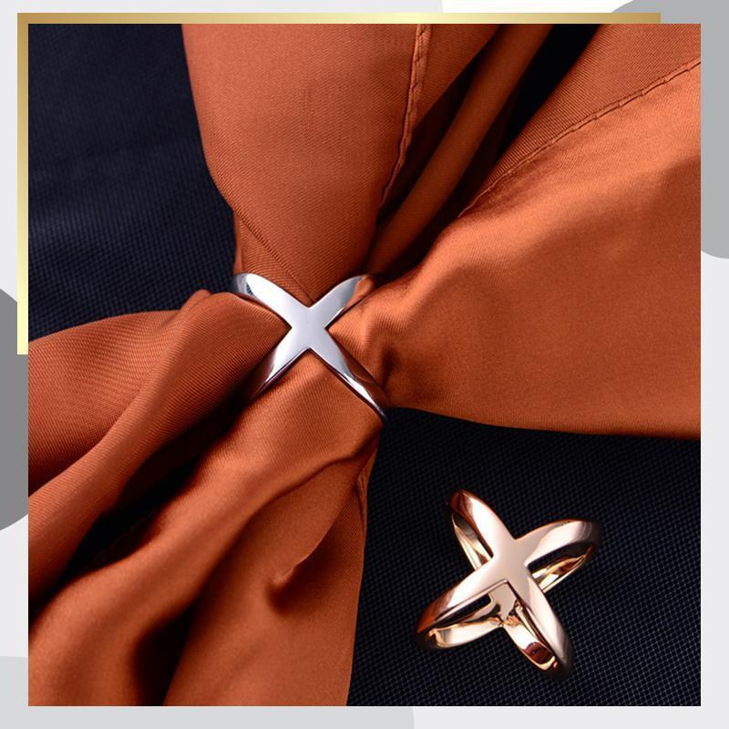 3pcs Fashion Simple Cross Scarf Clip X Shape Metal Brooches for Women Bow Scarves Buckle Holder Shawls Jewelry Accessories