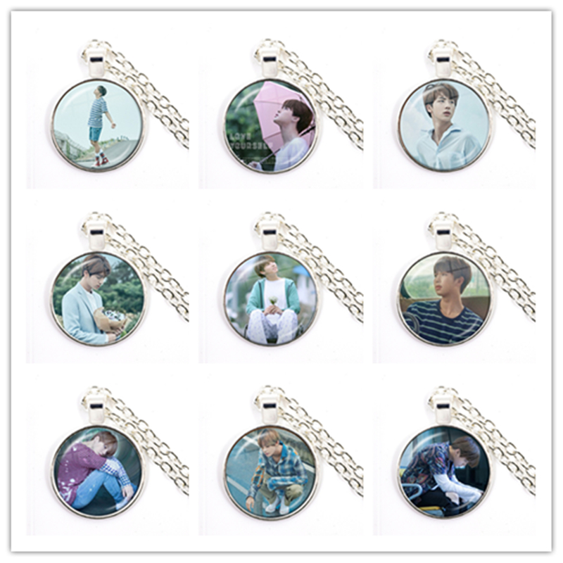 Hot Army Bomb Glass Cabochon Necklace Kpop BT21 Jewelry K-pop Boys Accessories For Fans Album Love Yourself Pendant Necklace 1