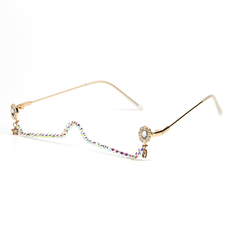 Half Frame Water Drop Star Pendant Glasses Frame Women Female Diamond Chain Ladies Shades Rhinestone Lensless Spectacle Frame