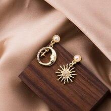 Pendientes asimétricos con forma de luna y estrella para mujer, joyería, Color dorado, Perla de imitación de Metal, diamantes de imitación, pendientes de gota de sol
