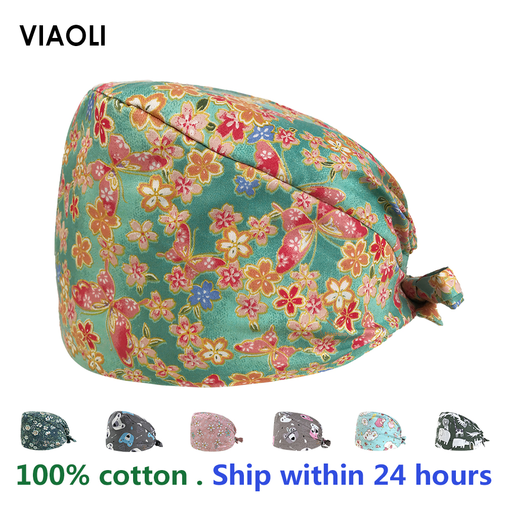 VIAOLI Men Women Medical Scrubs Pharmacy Work Cap Surgery Nurse Hat Oral Cavity Dental Clinic Pet Veterinary Surgical Cap12022
