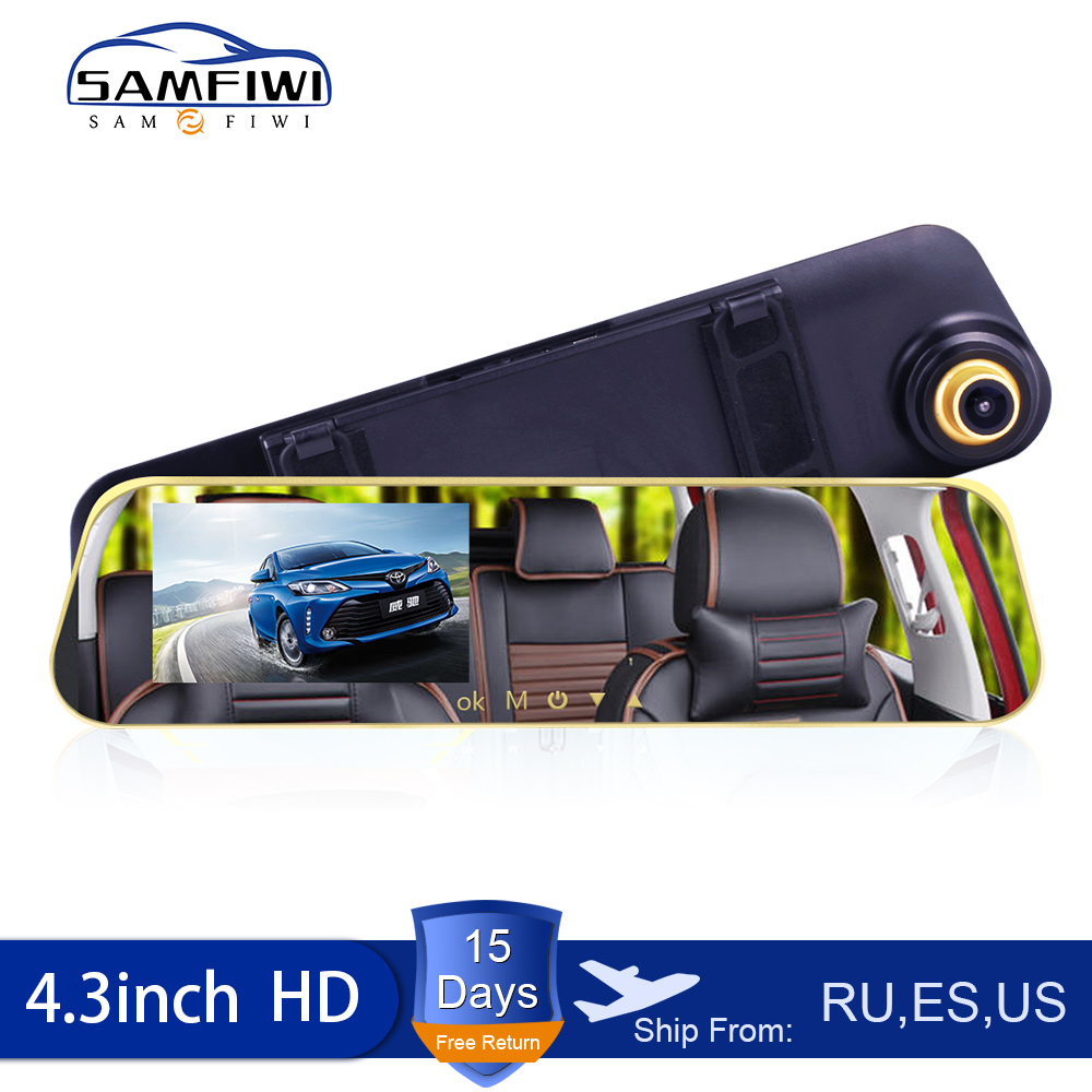 Kamera samochodowa Full HD 1080P Auto 4.3 Cal lusterko wsteczne kamera na deskę rozdzielczą cyfrowy rejestrator wideo podwójny obiektyw kamera rejestrująca