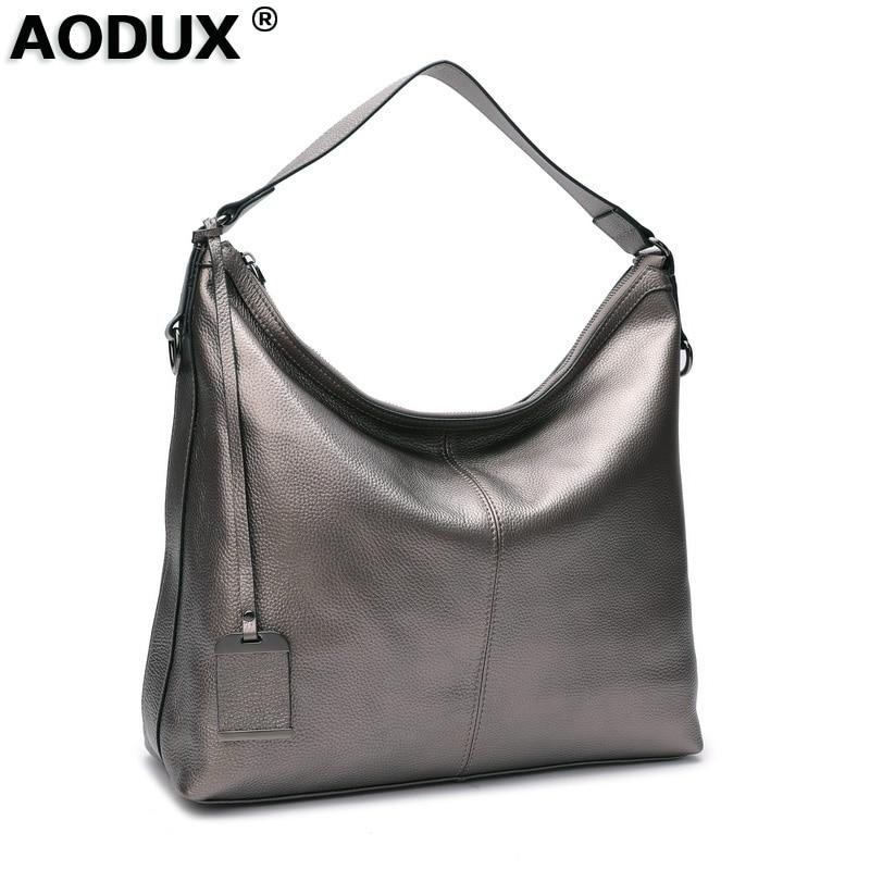 Aodux 2019 diseño 100% cuero genuino bolsos de hombro grandes de mujer bolsos de compras de mujer bolso de mensajero gris plateado para mujer-in Bolsos de hombro from Maletas y bolsas    1