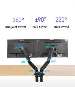 "Image 3 - 2019 New NB F160 Gas Spring 360 Degree Desktop 17"" 27"" Dual Monitor Holder Arm Full Motion Monitor Mount Bracket Load 2 9kg each"