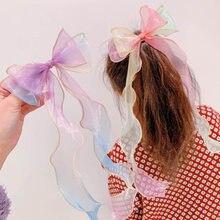 Organza menina arco hairpin crianças princesa corda de cabelo fita clipes criança com borboleta nó cabeça acessórios