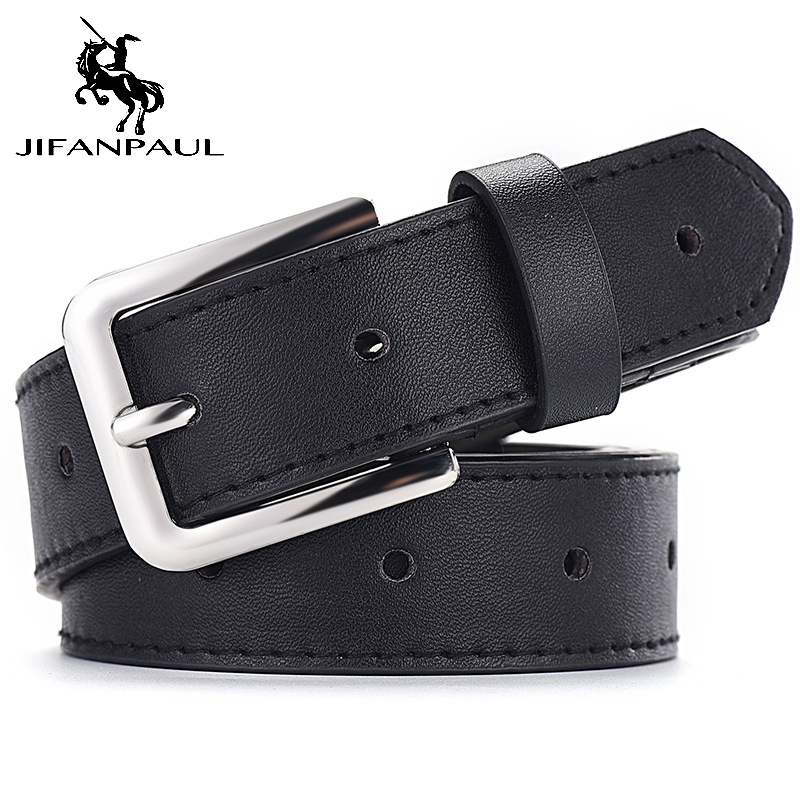 JIFANPAUL Jeans Belts Luxury Brand Alloy-Pin-Buckle Trend Retro Genuine-Leather Fashion