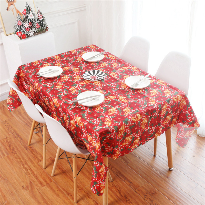 Christmas Table Cloth Rectangle Decorative Covers Washable Home Hotel Party Use