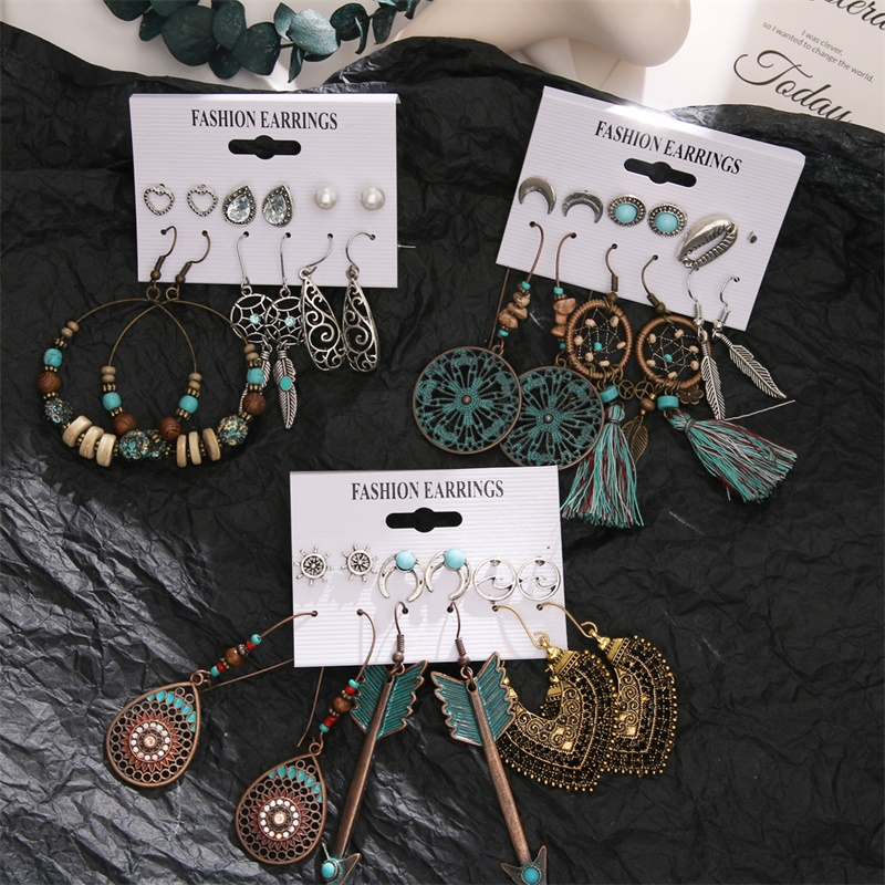 EN Vintage Ethnic Acrylic Beads Tassel Drop Earrings Set For Women Fashion Boho Sea Shells Wood Dangle Earring 2020 New Jewelry