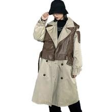 Женский Тренч в английском стиле,, однотонный костюм с воротником, Тренч, пальто цвета хаки, женские комплекты из двух предметов, зима, QYF1117