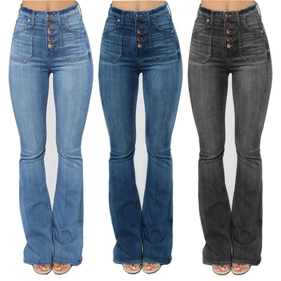Women High Waist Button Denim Jeans Plus Size Slim Flare Pants Full Length Trousers
