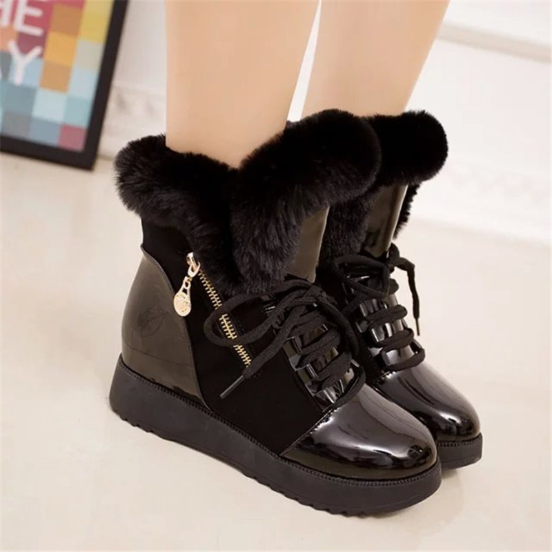 2019 Women Snow Boots Fashion Natural Wool Fur Winter Warm Ankle Boots For Women comfortable Lace-Up Flat Shoes Metal Decoration 21