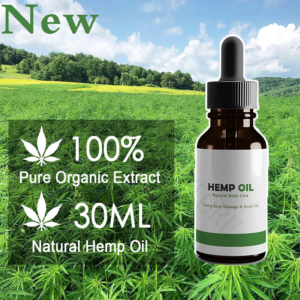 30ml 100% Natural Hemp Oil Pure Organic Extract THC Free Relieve Pain/pressure/insomnia Body Oil
