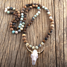 RH Fashion Bohemian Jewelry Sem Stone Knotted Horn Pendant Necklace For Women Boho Ethnic Necklace Gift