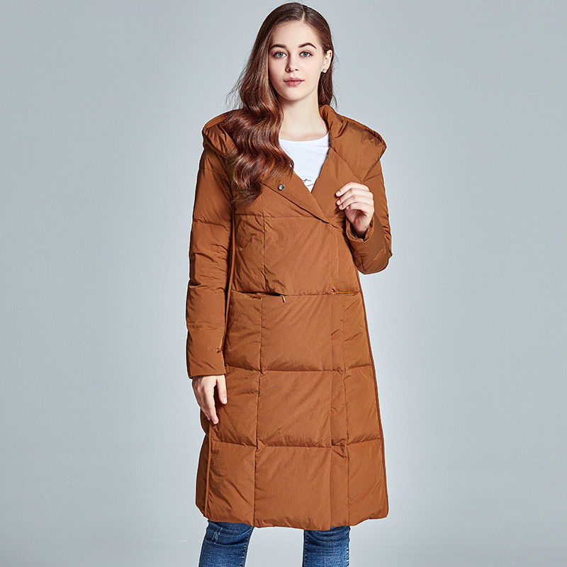 Winter Long White Duck Down Jacket Woman Hooded Thick Korean Coat Female Women's Jackets Chaquetas Invierno Mujer KJ348