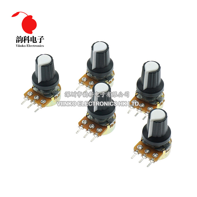 5pcs/lot WH148 1K 10K 20K 50K 100K 500K Ohm 15mm 3 Pin Linear Taper Rotary Potentiometer Resistor for Arduino with AG2 White cap 2