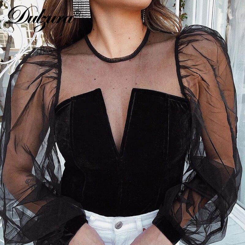 Dulzura Velvet Mesh Sheer Crop Top Sexy Tshirt Puff Long Sleeve Elegant Patchwork 2020 Spring Summer Clothes Party Rave Festival