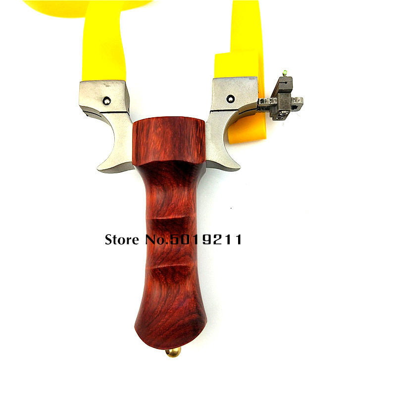 New Style Hunting Slingshot Stainless Steel Catapult Head+ Wood Handle with Flat Rubber Band Outdoor High Precision Shooting