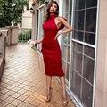 Missord/2021 летнее женское платье миди с высоким воротом, элегантное сексуальное женское Красное Облегающее Платье с открытой спиной, вечерние ...