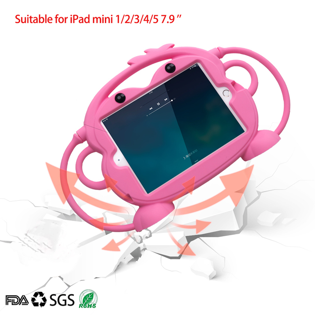 Kid safety Tablet Case for iPad mini 1 2 3 4 5 Kid friendly Carry Shockproof 7.9in Washable Stand Silicone Case for iPad 2 3 4