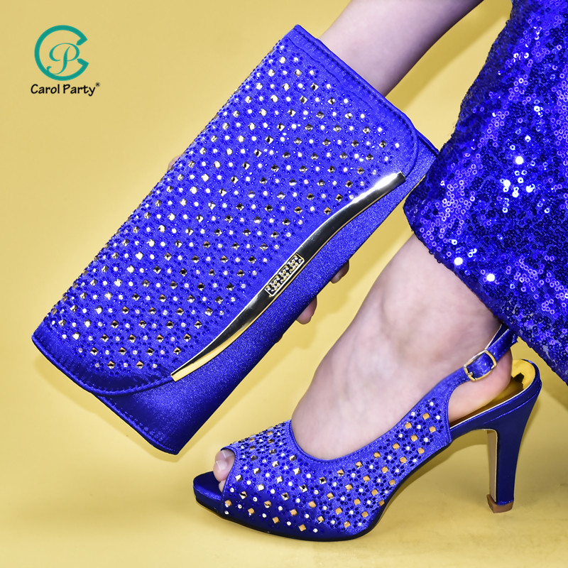 2020 Latest Blue Color African Shoes With Matching Bags For Wedding Italian design Style Women Wedding Shoes And Handbag Set