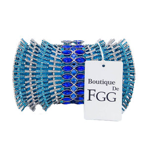 Image 5 - Boutique De FGG Hot Pink Fuchsia diamentowe cyrkonie drążą kobiety kryształowe torby torebka wieczorowa torebka koktajlowa dla nowożeńców torebka