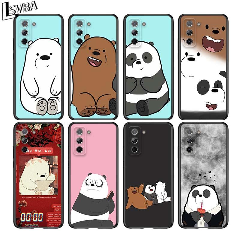 Three Cute Bear For Samsung Galaxy S21 Ultra Plus 5G Note 20 10 9 8 S10 S9 S8 S7 S6 Edge Plus Black Phone Case