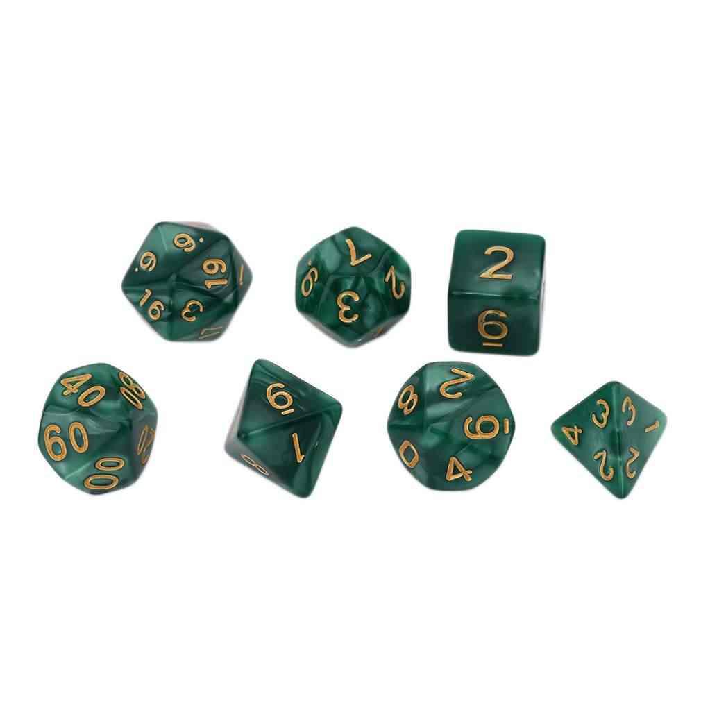 ¡Nuevo caliente! Juego de 7 piezas de Color verde brillante con perlas múltiples facetadas acrílicas Dice16-20mm D4 D6 D8 D10 D12 D20
