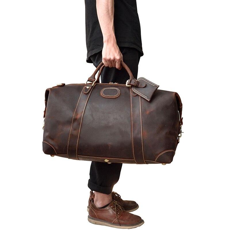 MAHEU عالية الجودة مجنون الحصان الجلود الرجال حقيبة يد للسفر غراندي دائم الذكور جلد البقر Duffe حقيبة حمل حقيبة جلد طبيعي-في حقائب السفر من حقائب وأمتعة على  مجموعة 1
