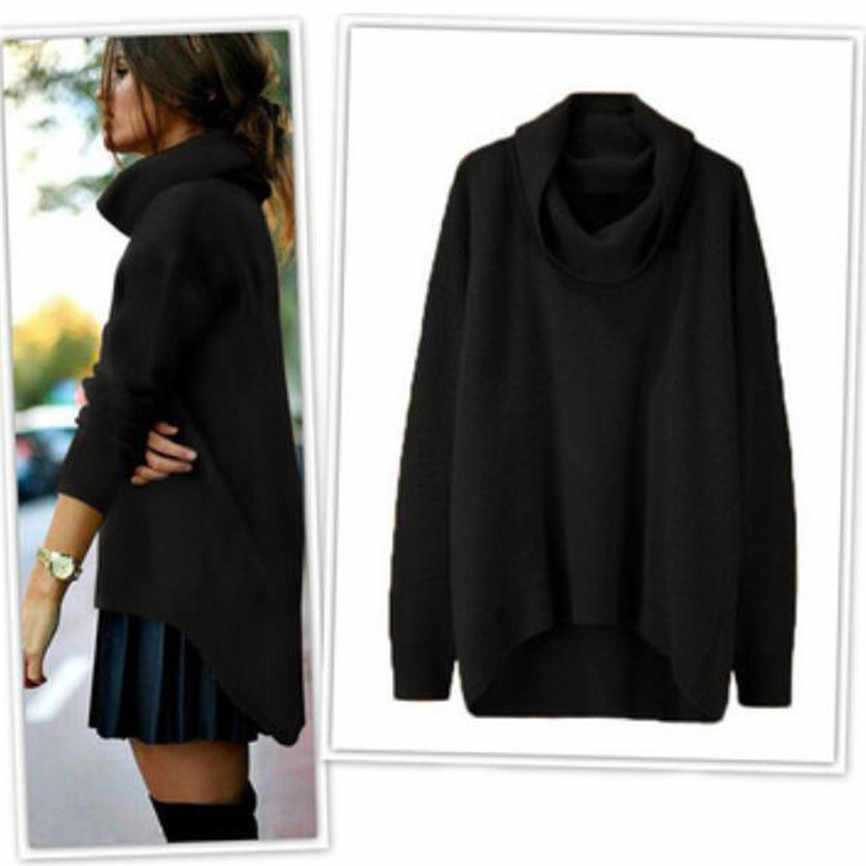 Moda mujer suéter sólido alto cuello Irregular dobladillo manga larga Jersey suelto diario suéter Otoño Invierno mujer suéter superior