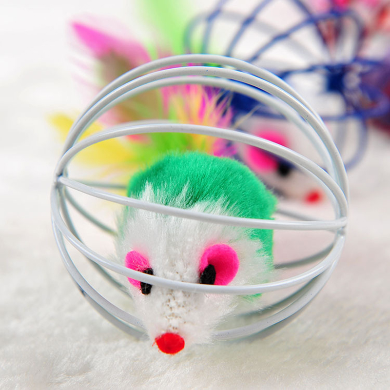 Creative Cat Toys False Colorful Mouse In Rat Cage Ball Toys For Kitten Interactive font b
