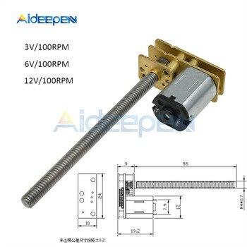 GA1024-N20 DC motoreduktor 100 obr/min DC 3V 6V 12V M4 * 55mm metalowe śruby pręt gwintowany m4 100mm długość wysoki moment obrotowy hamowania mikro silnik