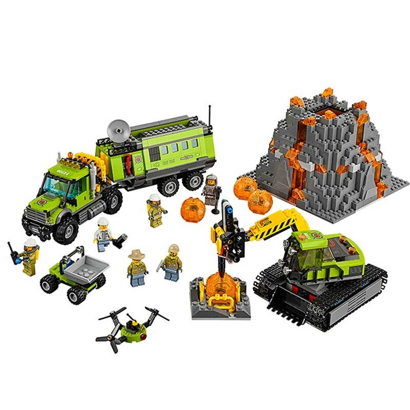 Briques de Construction de Base volcan City   Base d'exploration, Construction de jouets, blocs de Construction en briques compatibles, modèle 10641