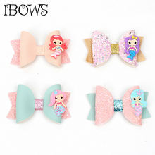 New 3inch Leather Glitter Hair Bows for Girls Hair Clips Cartoon Mermaid Hairgrips Handmade Barrettes for Kids Hair Accessories