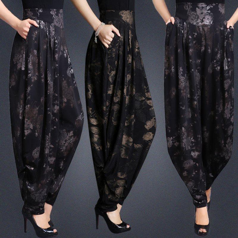 2019 Women Super Loose Elegant Harem Pants Elastic Waist Casual Trousers Chiffon Fashion Female Long Pants