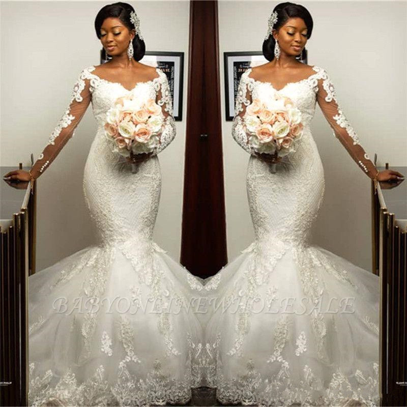 Illusion Long Sleeve Mermaid Wedding Dresses 2020 Vestido De Novia Jewel Neck Lace Applique Trumpet African Bridal Wedding Gown