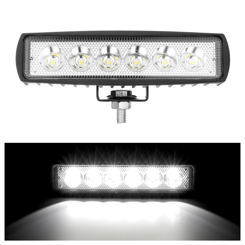 1x 6 Inch Led Bar Driving Fog Offroad LED Work Light 18W 12V LED Universal 4WD Led Beams Work Car Light Bar Spotlight Flood Lamp