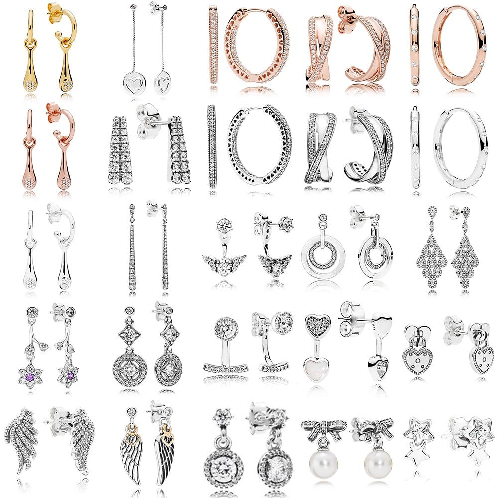 2019 New Fashion Wild 100% 925 Sterling Silver Earrings Round Earrings Sparkling Love Feathers Earrings Original Female Jewelry