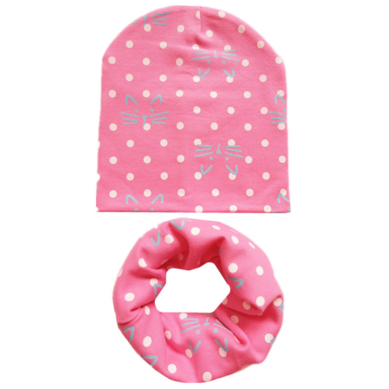 New Autumn Winter Cotton Girls Hat Scarf Set Star Print Baby Boys Hat Cartoon Children Hat Scarf Collar Set Cotton Kids Hat Set