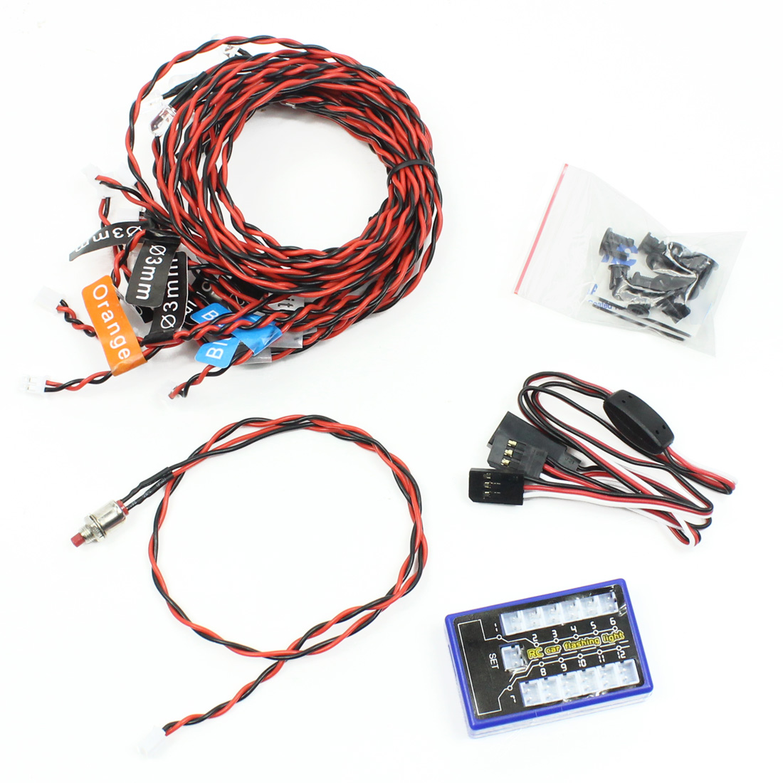 F04622 Ultra Bright 12 <font><b>LED</b></font> Multi-color Flashing <font><b>Light</b></font> System for DIY <font><b>RC</b></font> Car Helicopters <font><b>Plane</b></font> Quadcopter image