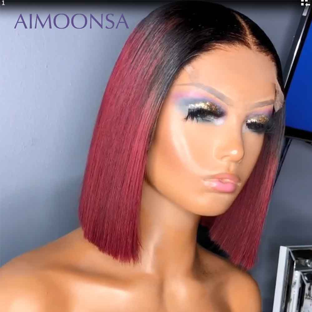 Burgundy Lace Front Wig  Colored Ombre Human Hair Wigs Red Hair Straight 1B/99J For Women Peruvian Remy Aimoonsa