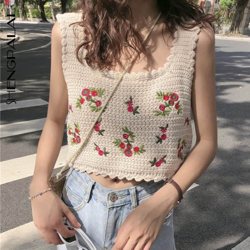 SHENGPALAE Vintage Embroidery Flowers Basic Sweet 2020 Chic Sexy Casual Camis Female Sleeveless Women All Match Tank Top ZA3016