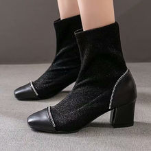 Women Shoes Non-slip Women Ladies Ankle Booties Square Toe Solid Boots Casual Outdoor Shoes Woman Winter chaussures femme(China)