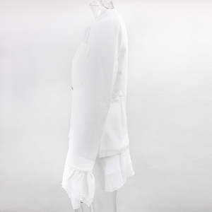Image 4 - Dressmecb 가을 작은 정장 2 조각 세트 여성 깊은 V 전체 슬리브 정장 탑과 메쉬 미니 드레스 섹시한 설정 Office 레이디 두 조각 세트