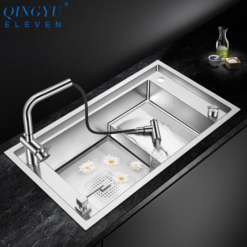 Stepped Sink 304 Stainless Steel Kitchen Sink 4mm Thickness 220mm Depth Large Size Handmade Brushed Luxury Stepped Kitchen Sinks