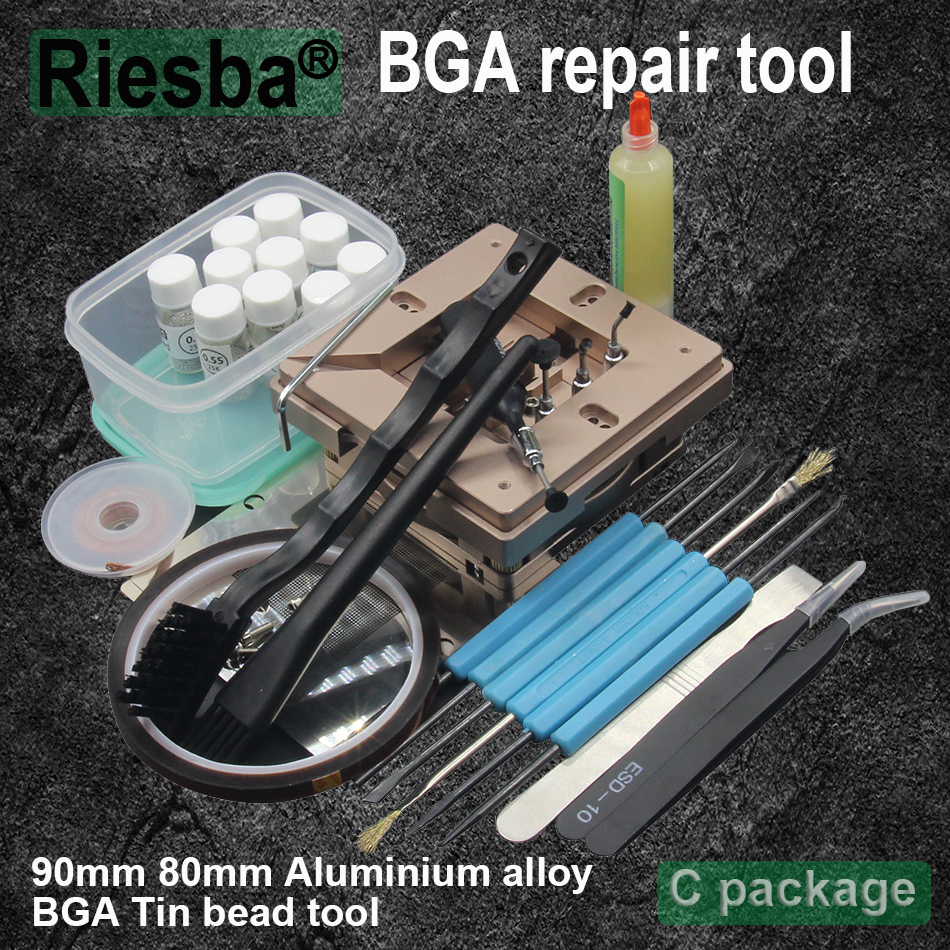 90mm Aluminium Alloy BGA Reballing Station BGA Reball Kit Magnetism Lock 10pcs 90mm Universal Bga Stencil 9 Pcs BGA Solder Ball