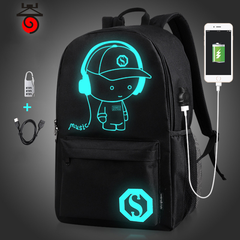 Music Boy Monkey D Luffy School Bag For Teenagers Luminous Backpack Girls USB Charger Cartoon Travel Casual Laptop Shoulder Bags