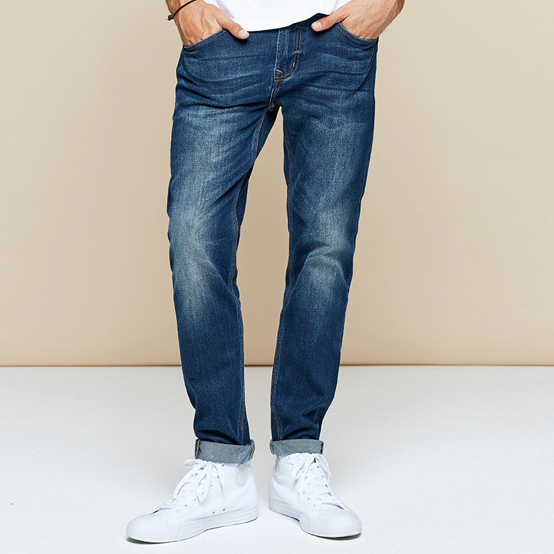 【Kuegou】brand Men's Jeans  South Korean Style Micro Elastic Jeans Men Spring Autumn Jeans Pants Blue Size KK-2962